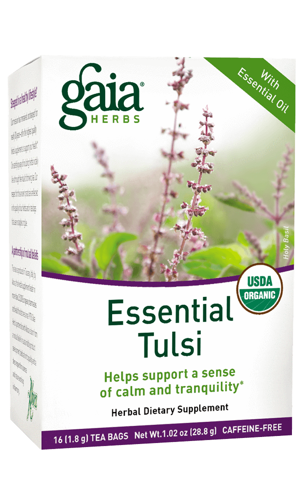 Gaia Herbs Essential Tulsi Tea for Stress Support