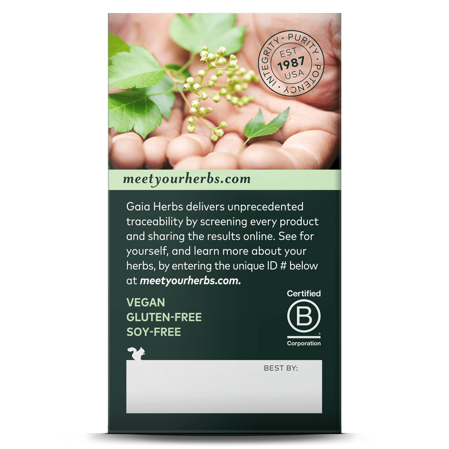 Gaia Herbs Bacopa carton side: meetyourherbs.com || 60 ct