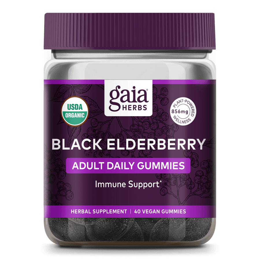 Gaia Herbs Black Elderberry Adult Daily Gummies for Immune Support || 40 ct