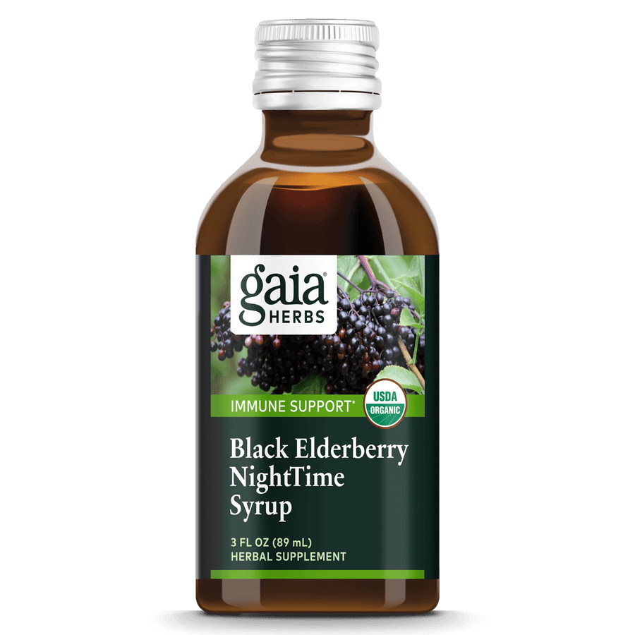 Gaia Herbs Black Elderberry NightTime Syrup for Immune Support