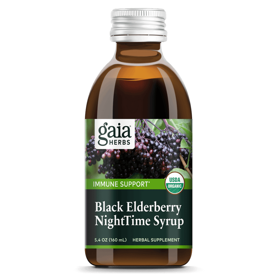 Gaia Herbs Black Elderberry NightTime Syrup for Immune Support || 3 oz
