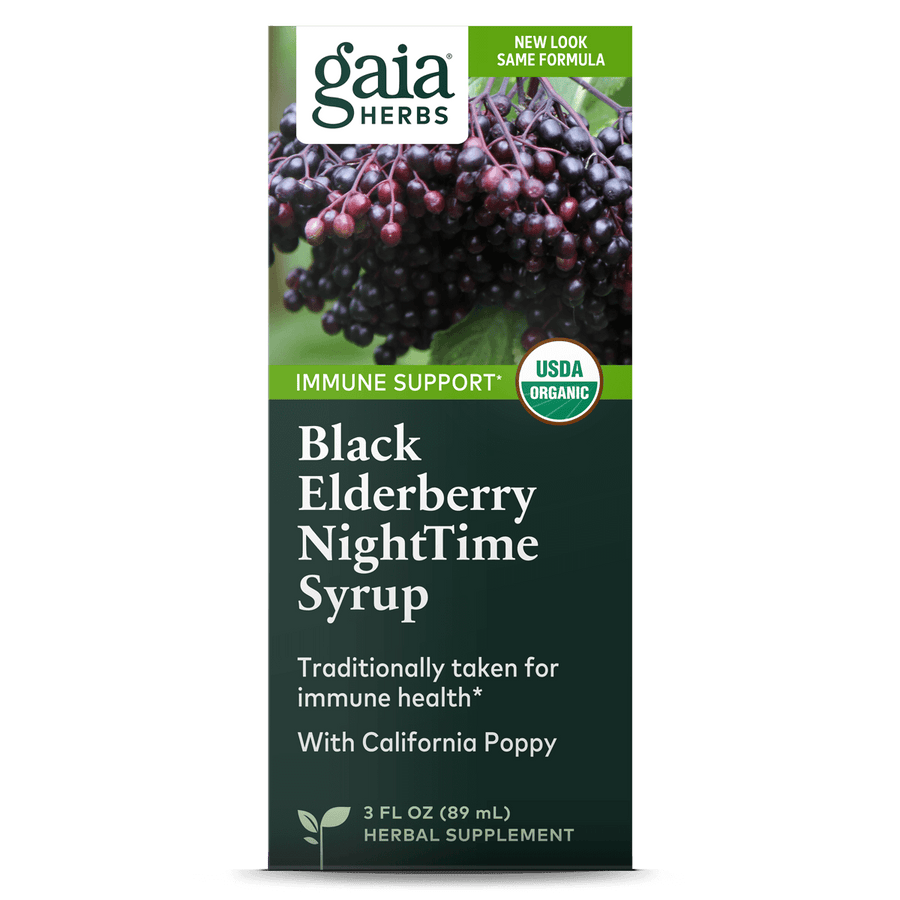 Gaia Herbs Black Elderberry NightTime Syrup carton front || 3 oz