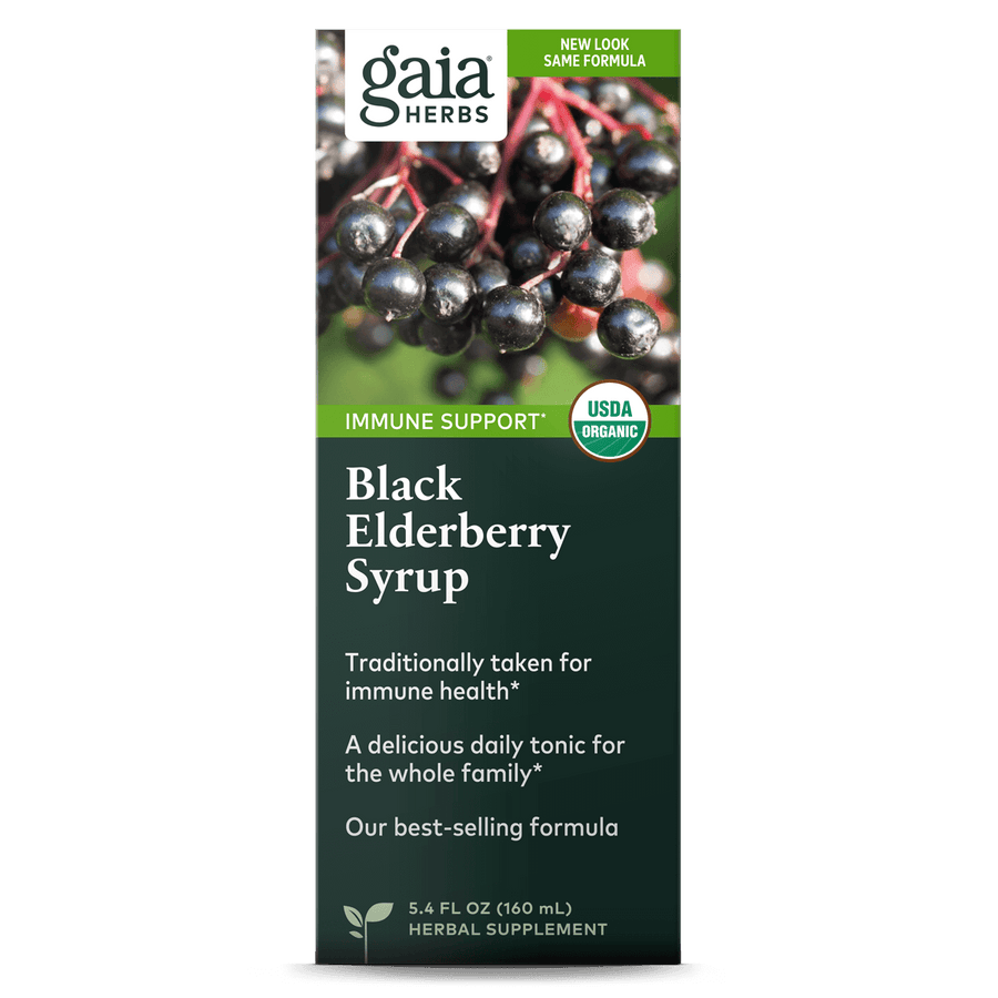Gaia Herbs Black Elderberry Syrup carton front || 5.4 oz