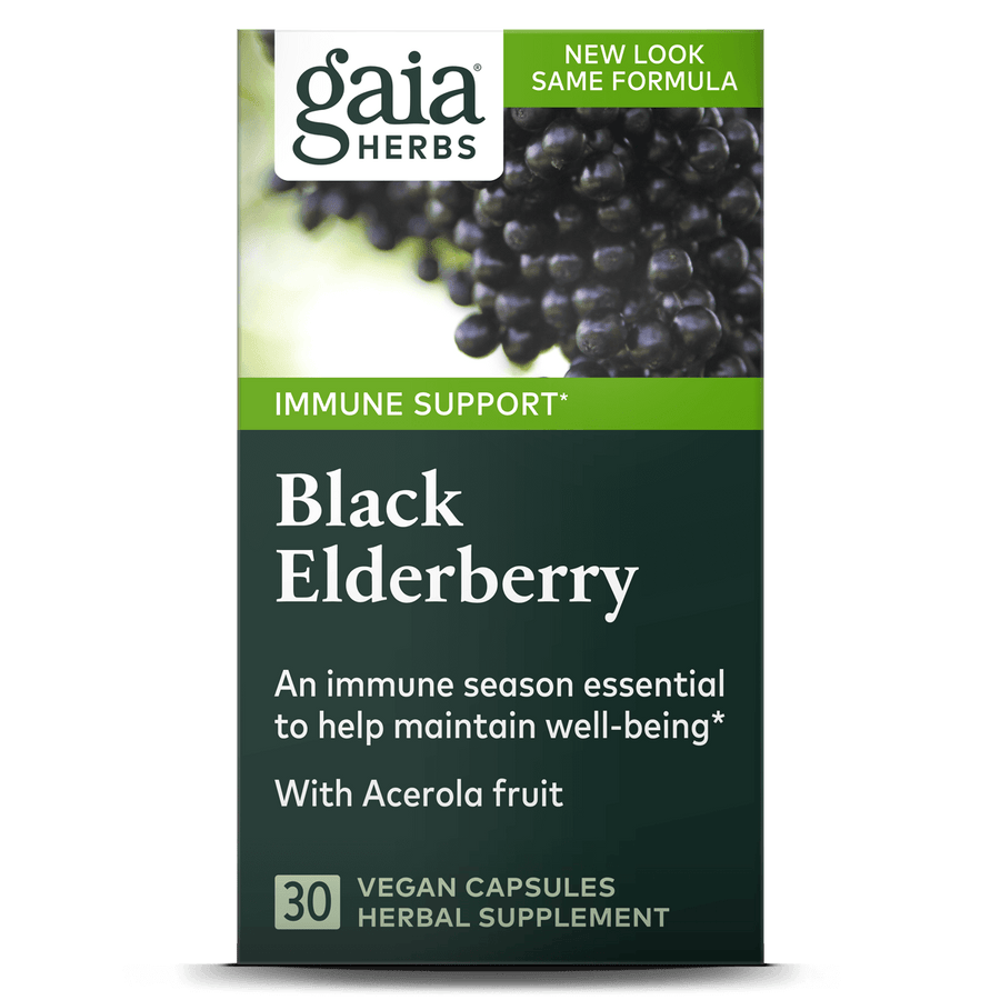 Gaia Herbs Black Elderberry carton front || 30 ct