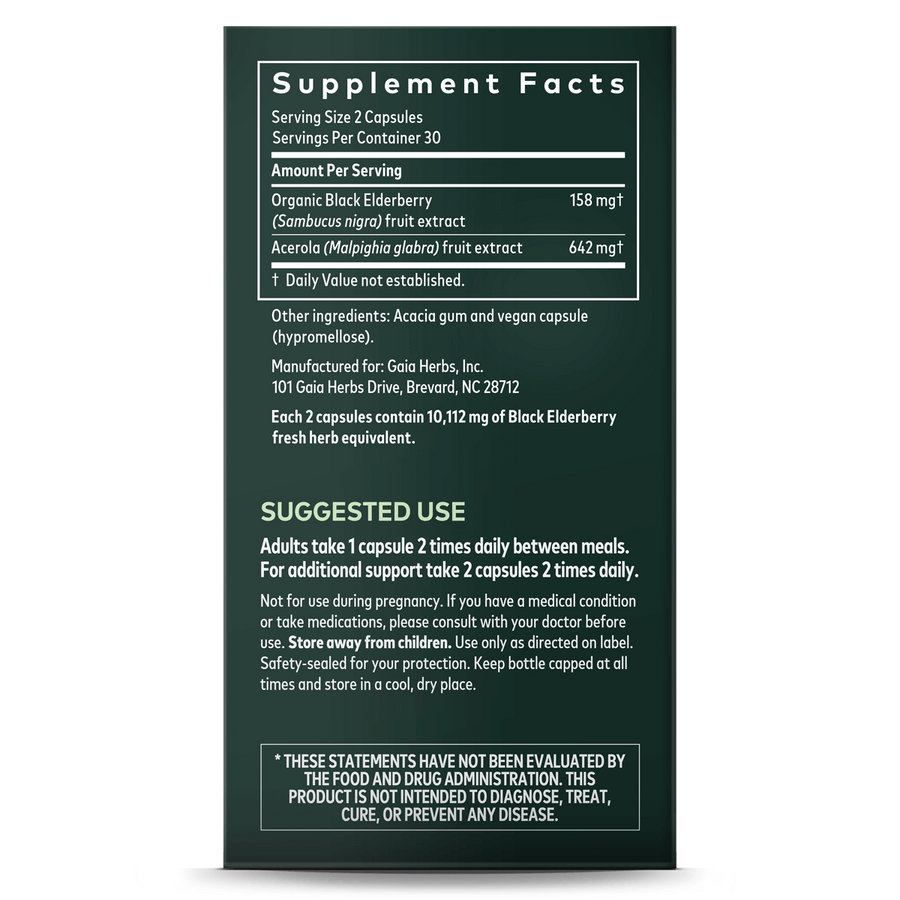 Gaia Herbs Black Elderberry supplement facts || 60 ct