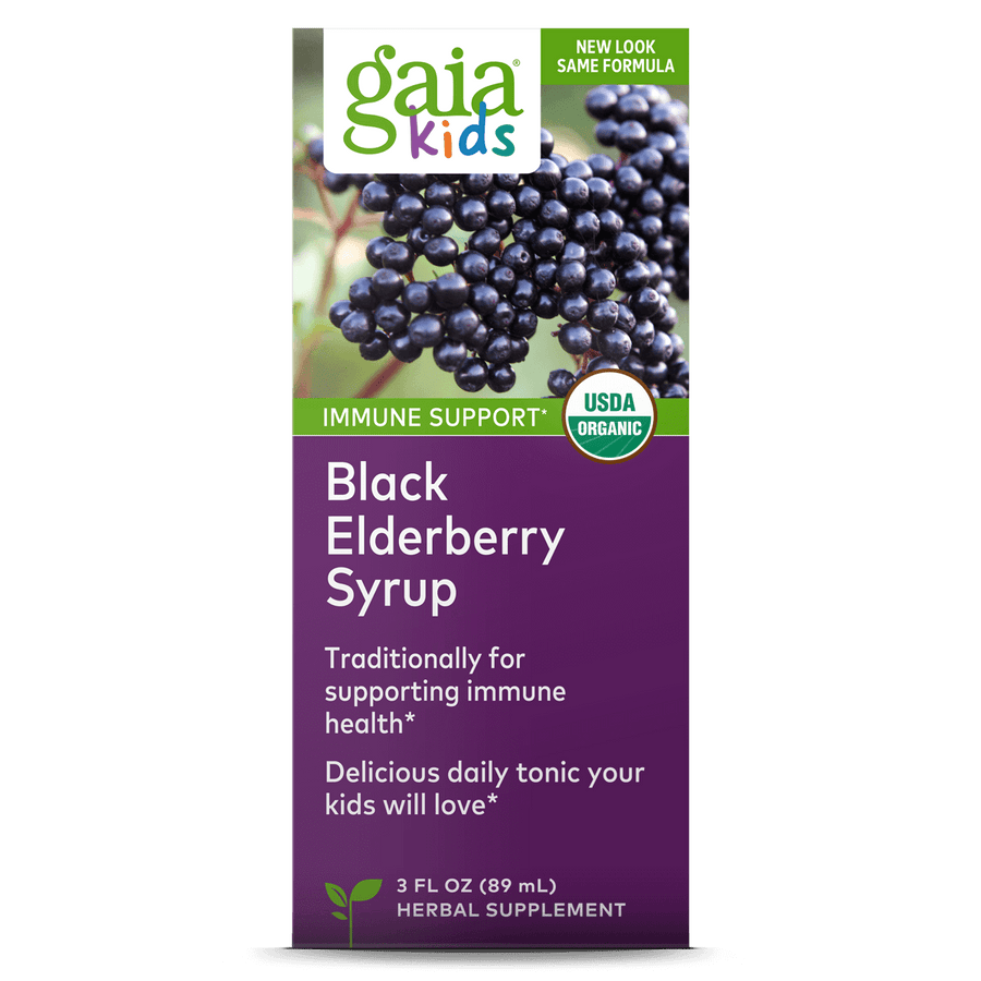 Gaia Herbs GaiaKids Black Elderberry Syrup carton front