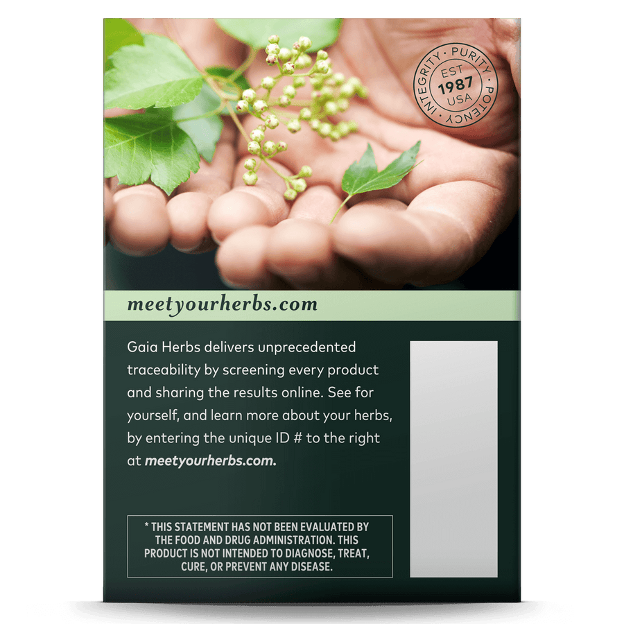 Gaia Herbs Bronchial Wellness Herbal Tea carton side: meetyourherbs.com || 16 ct
