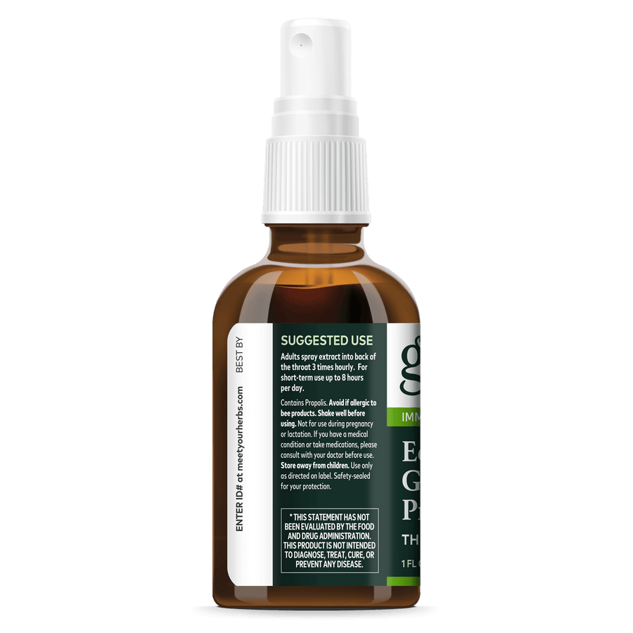 Gaia Herbs Echinacea Goldenseal Propolis Throat Spray suggested use || 1 oz