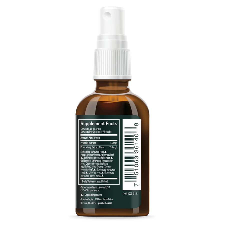 Gaia Herbs Echinacea Goldenseal Propolis Throat Spray supplement facts || 1 oz