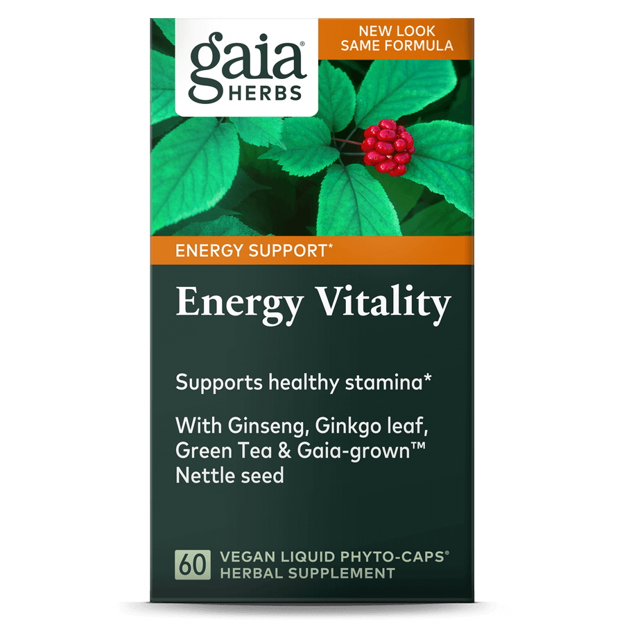 Gaia Herbs Energy Vitality carton front || 60 ct