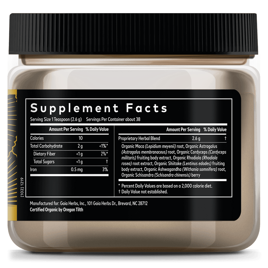 Gaia Herbs Everyday Adaptogen supplement facts || 3.5 oz