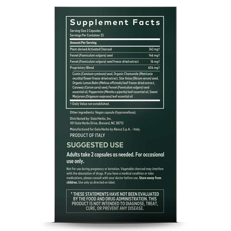 Gaia Herbs Gas & Bloating supplement facts || 50 ct