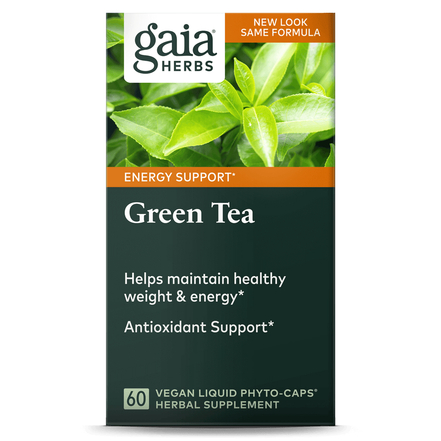 Gaia Herbs Green Tea carton front || 60 ct