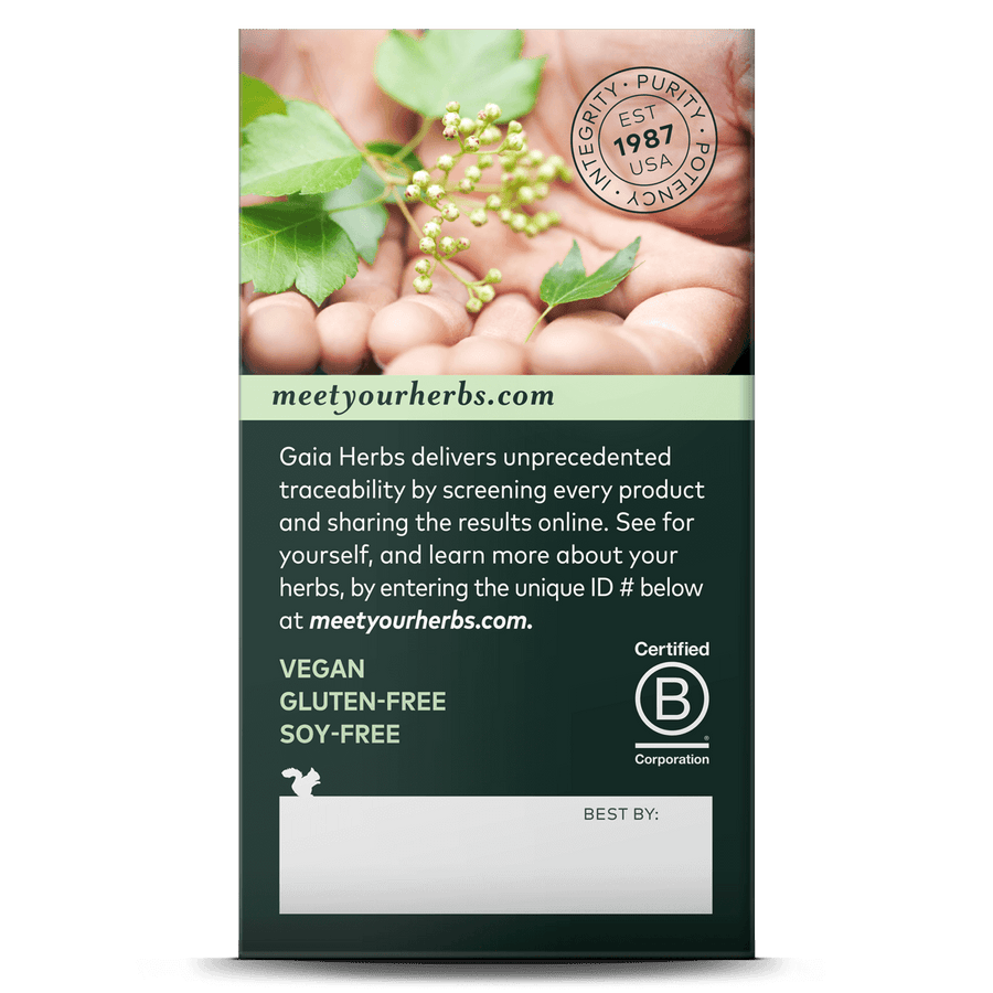 Gaia Herbs Hair, Skin & Nail Support carton side: meetyourherbs.com || 60 ct
