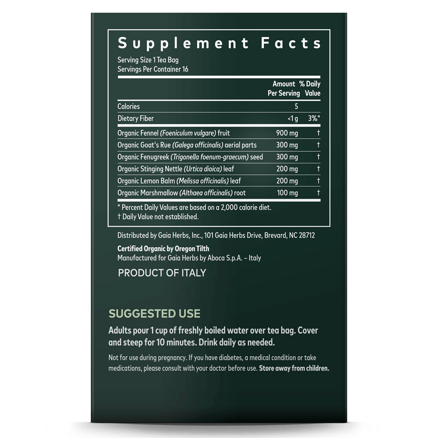 Gaia Herbs Lactation Support Herbal Tea supplement facts and suggested use || 16 ct