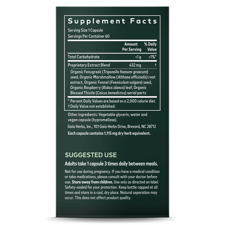 Gaia Herbs Lactation Support supplement facts