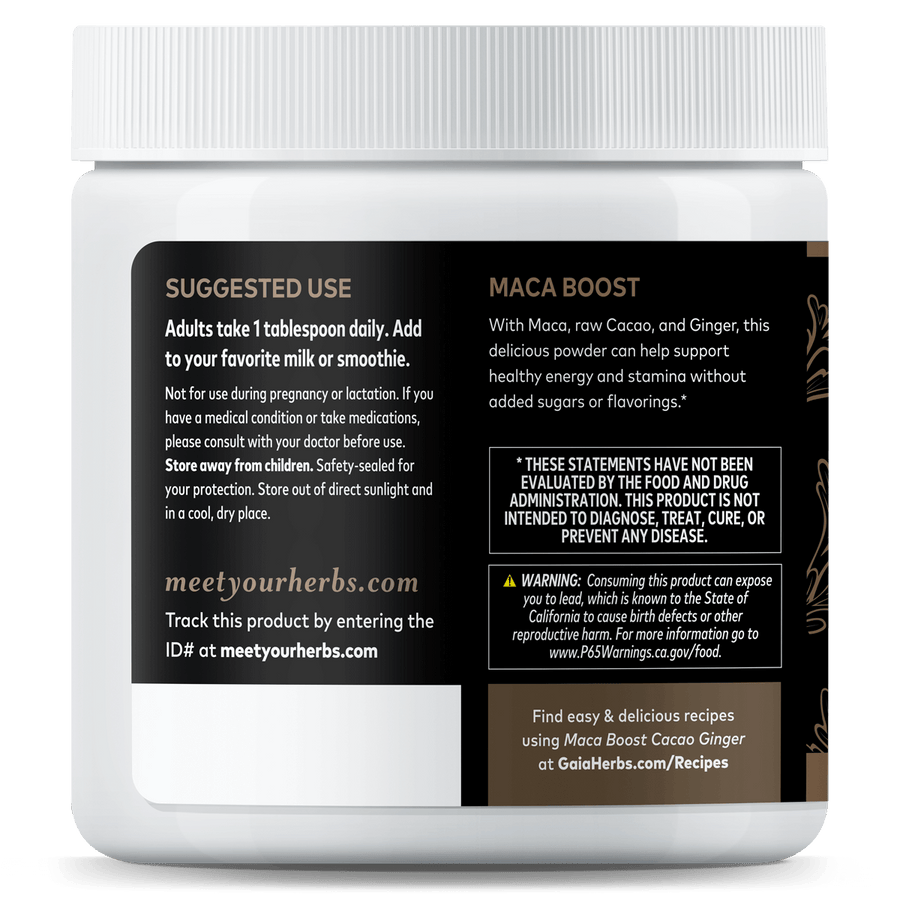 Maca Boost® Cacao Ginger suggested use