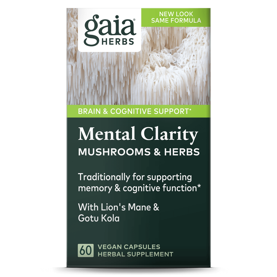 Gaia Herbs Mental Clarity Mushrooms & Herbs carton front || 60 ct