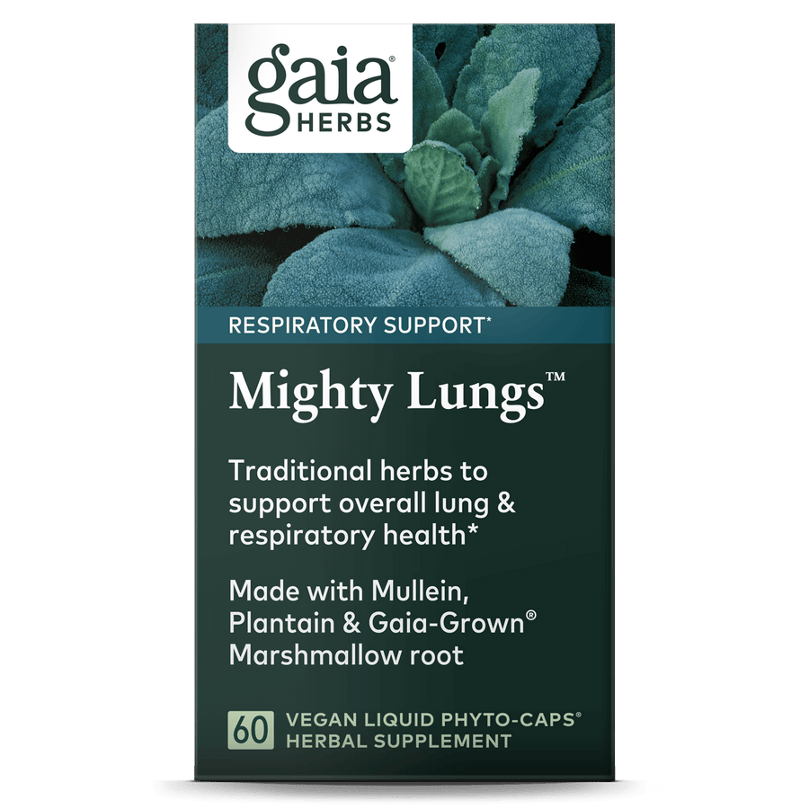 Gaia Herbs Mighty Lungs for Respiratory Support carton front  || 60 ct