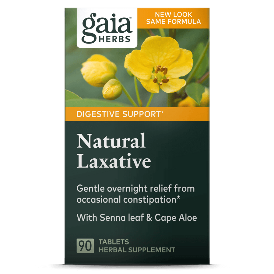 Gaia Herbs Natural Laxative carton front || 90 ct