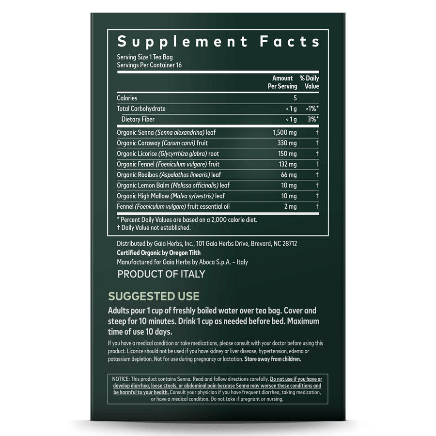 Gaia Herbs Natural Laxative Herbal Tea supplement facts and suggested use || 16 ct