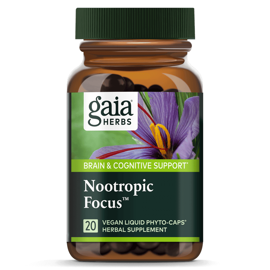 Gaia Herbs Nootropic Focus for Brain & Cognitive Support || 20 ct