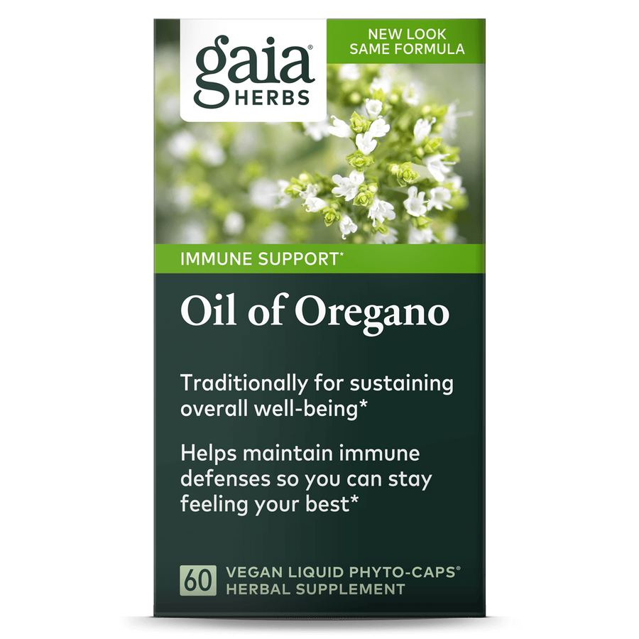 Gaia Herbs Oil of Oregano carton front || 60 ct