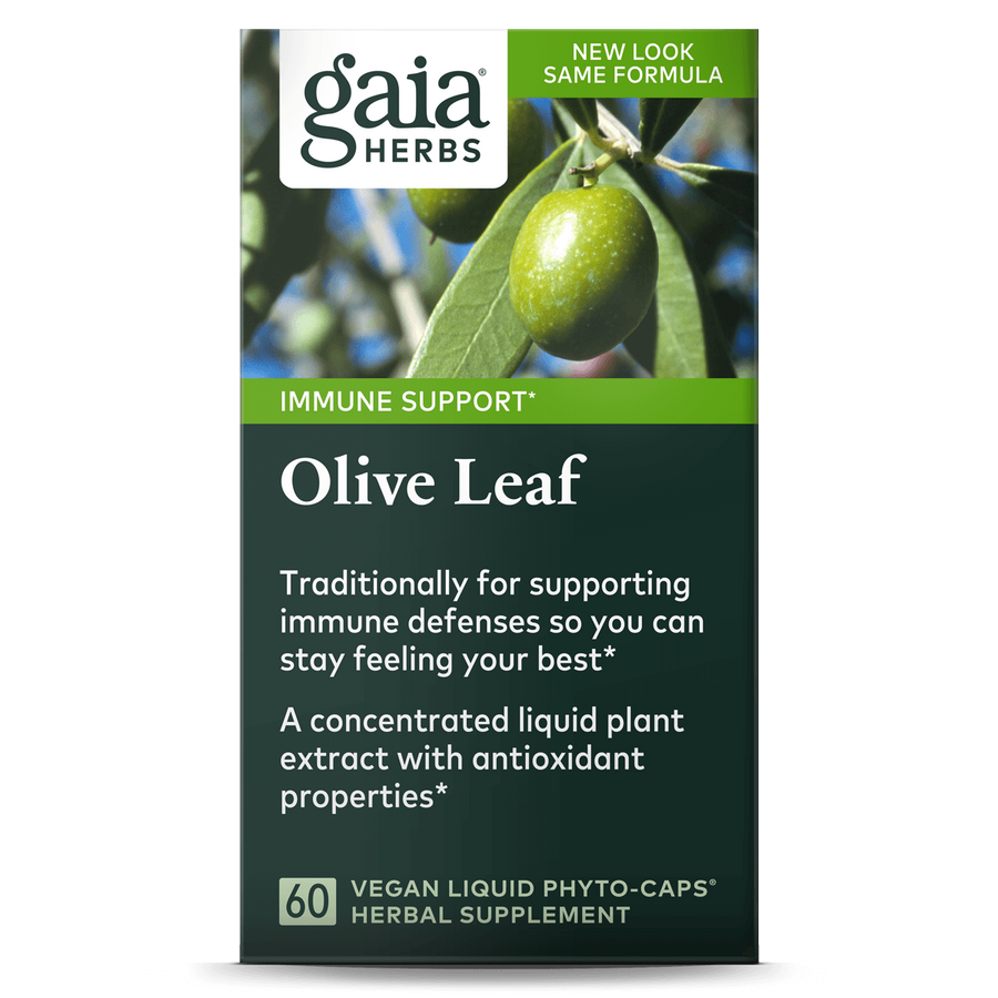 Gaia Herbs Olive Leaf carton front || 60 ct