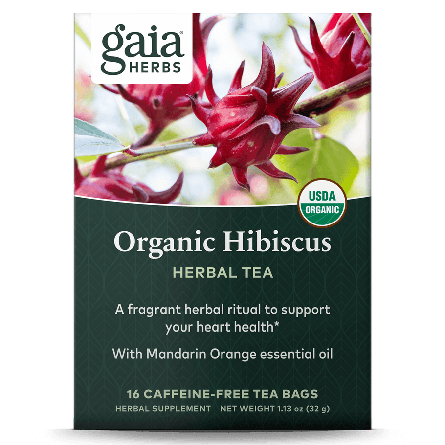 Gaia Herbs Organic Hibiscus Herbal Tea for Heart Support || 16 ct