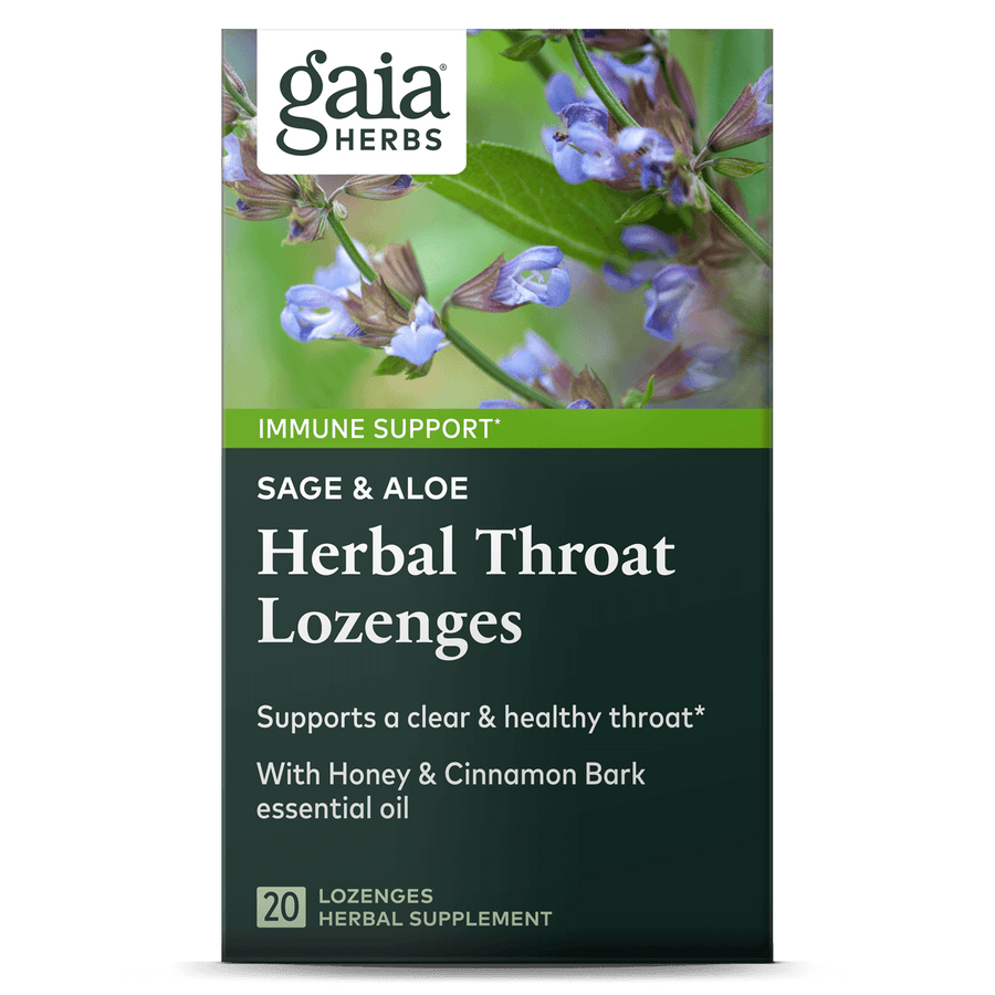 Gaia Herbs Sage & Aloe Herbal Throat Lozenges for Immune Support || 20 ct