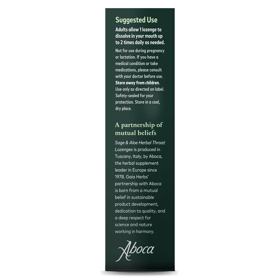 Gaia Herbs Sage & Aloe Herbal Throat Lozenges for Immune Support suggested use || 20 ct