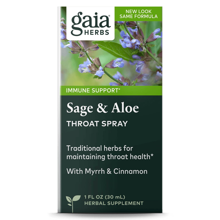 Gaia Herbs Sage & Aloe Throat Spray for Immune Support carton || 1 oz