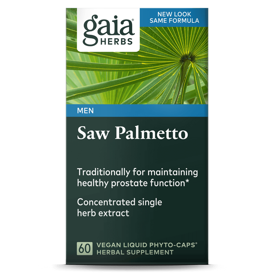 Gaia Herbs Saw Palmetto carton front || 60 ct