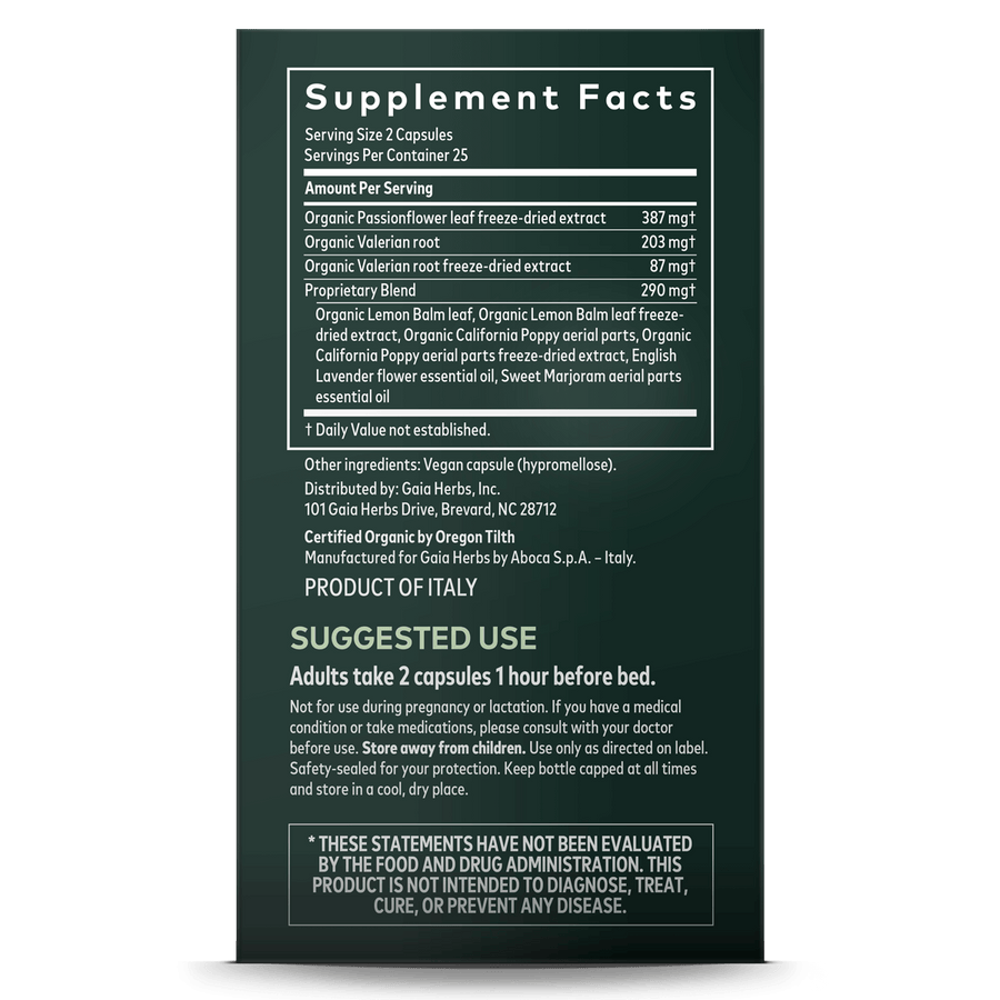Gaia Herbs Sleep & Relax supplement facts || 50 ct