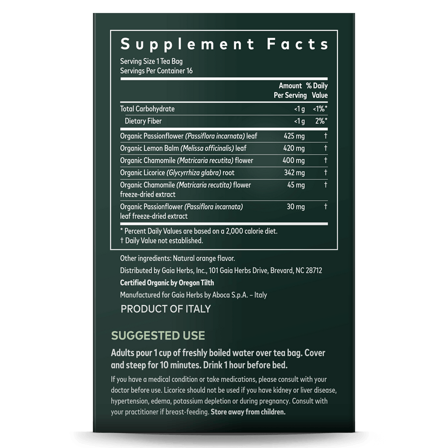 Gaia Herbs Sleep & Relax Herbal Tea supplement facts and suggested use