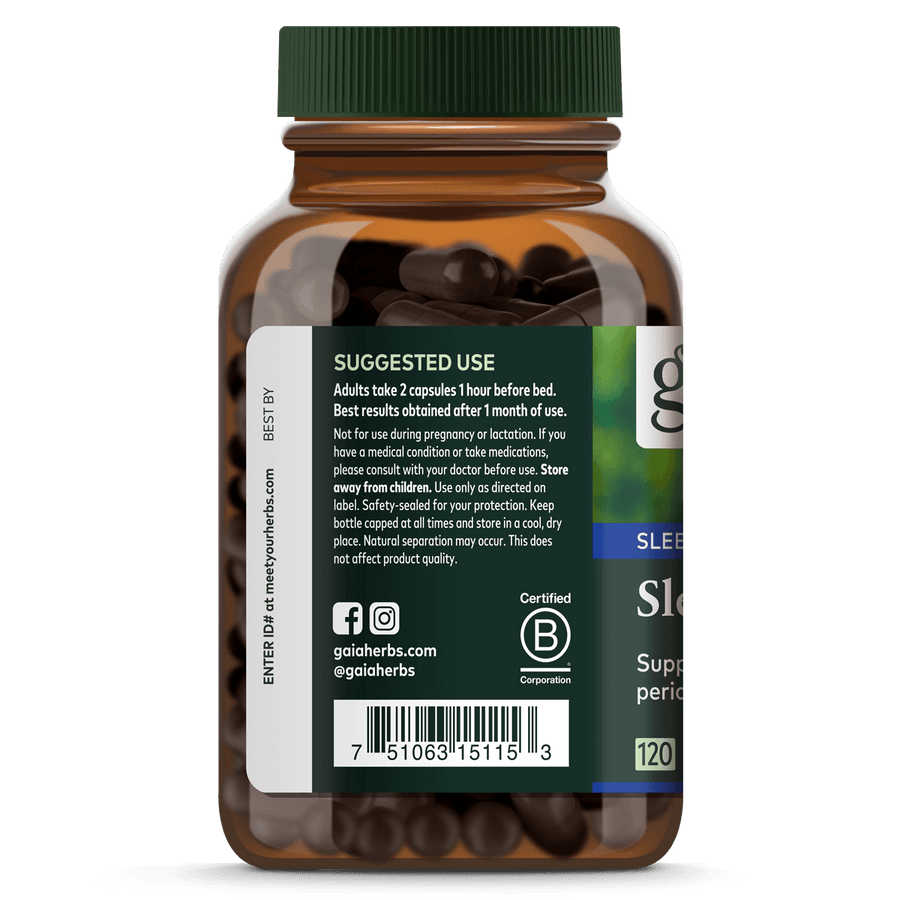 Gaia Herbs SleepThru suggested use || 120 ct
