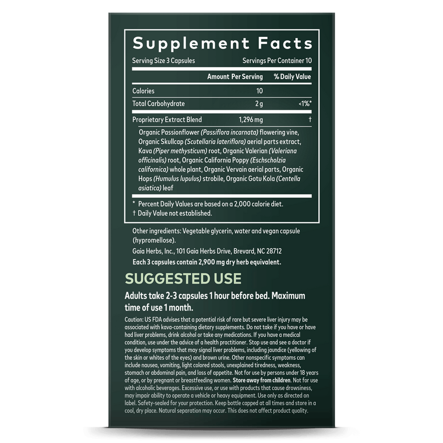 Gaia Herbs Sound Sleep supplement facts || 30 ct