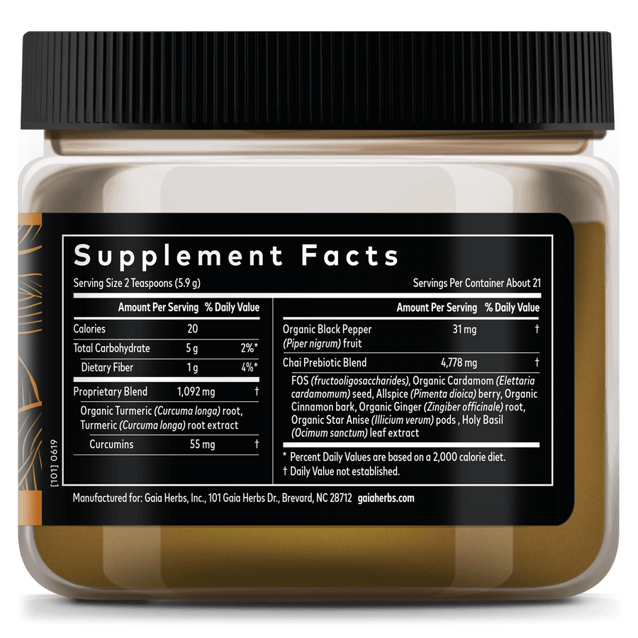 Gaia Herbs Turmeric Boost Restore Supplement Facts
