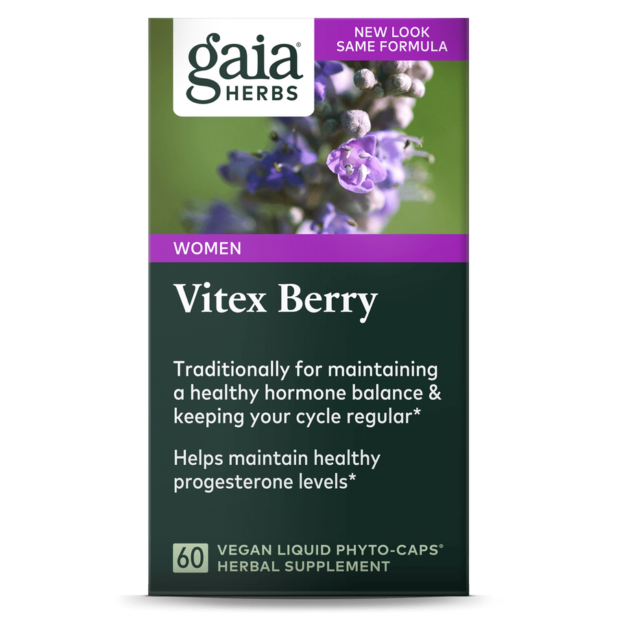 Gaia Herbs Vitex Berry carton front || 60 ct