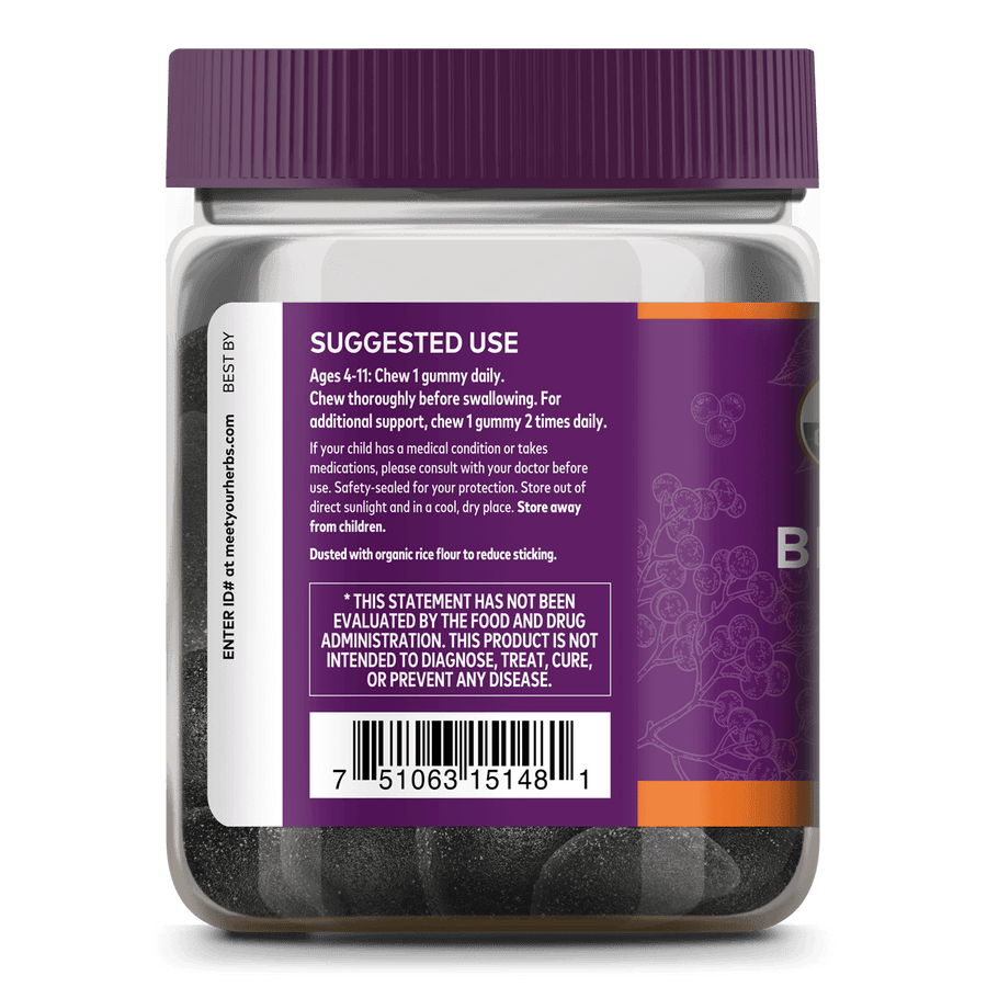 GaiaKids® Black Elderberry Kids Daily Gummies for Immune Support Suggested Use