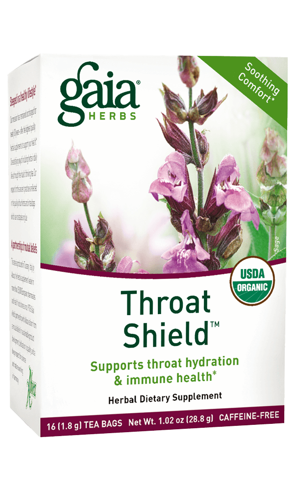 Gaia Herbs Throat Shield Herbal Tea for Immune Support