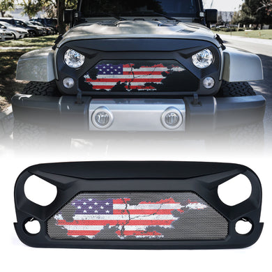 Xprite Gladiator Grill Jeep Wrangler JK (2007-2018) w/ Distressed US Flag