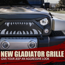 Load image into Gallery viewer, Xprite Gladiator Grill Jeep Wrangler JK (2007-2018) w/ Monster Teeth & Steel Mesh