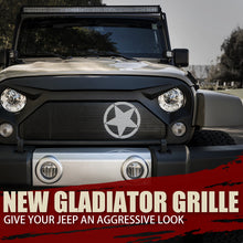 Load image into Gallery viewer, Xprite Gladiator Grill Jeep Wrangler JK (2007-2018) w/ Star & Steel Mesh