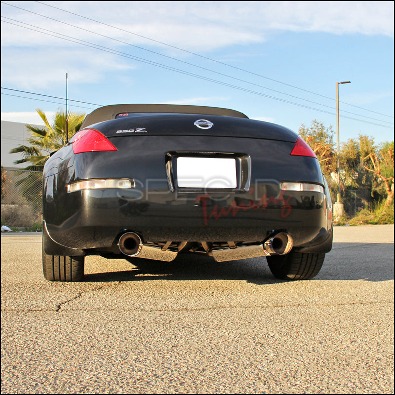 Spec-D Tuning Exhaust Nissan 350Z (03-08) Dual Muffler Polished / Blue  Burnt Tips