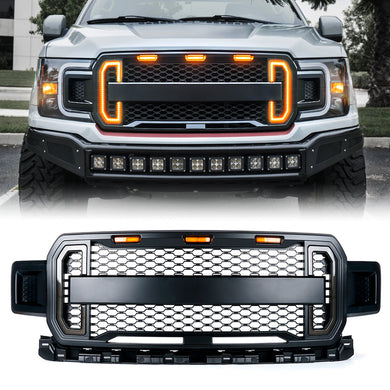 Xprite Raptor Style Grill Ford F150 (2018-2019) w/ DRL Lights & Turn Signals