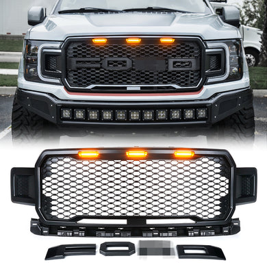 Xprite Raptor Style Grill Ford F150 (2018-2019) w/ LED Running Lights