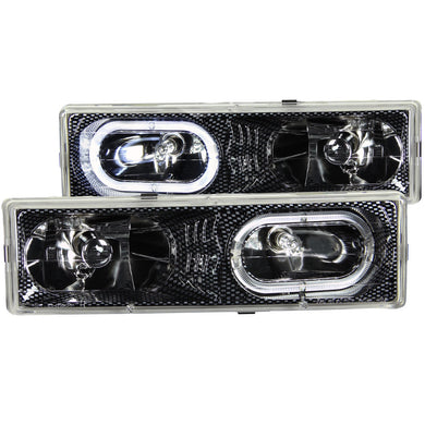 Anzo Crystal Headlights Chevy Suburban (92-99) Tahoe (95-99) Carbon/Black/Chrome