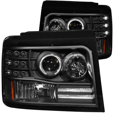 Anzo Projector Headlights Ford F150/Bronco (92-96) F250/F350 (92-98) [LED Halo w/ Side Marker & Parking Lights] Black or Chrome