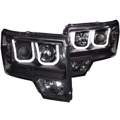 Anzo Projector Headlights Ford F150 & SVT Raptor (09-14) [U-Bar Halo] Black or Chrome
